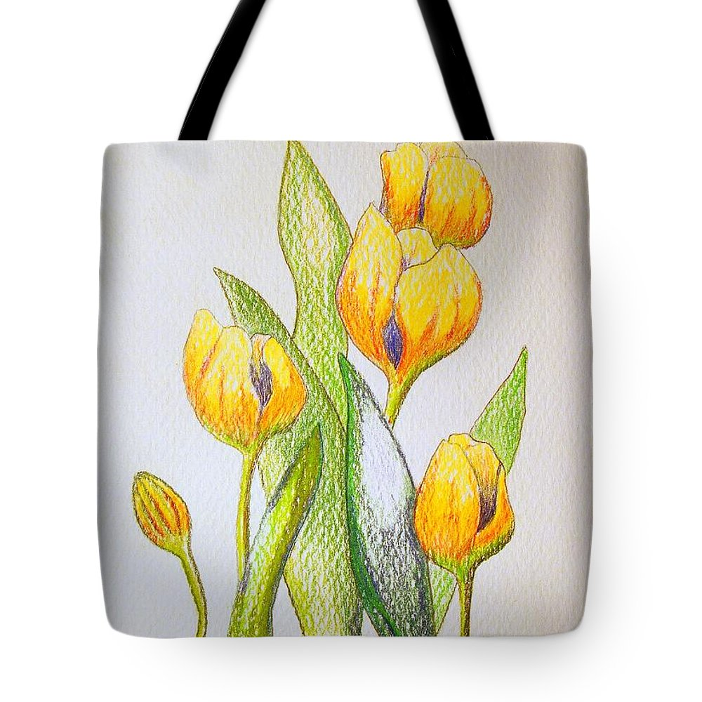 Stationery Card Tote Bag featuring the drawing Yellow Tulips by J R Seymour