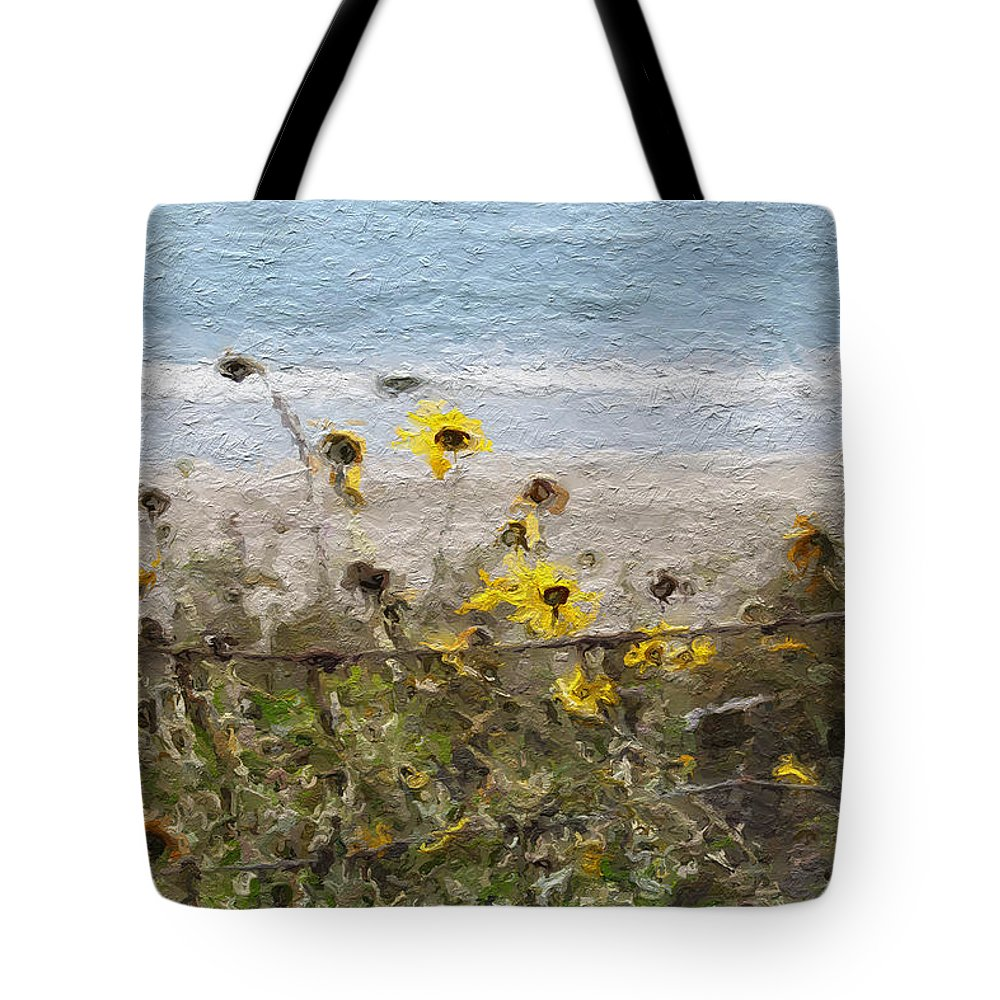 Yellow Tote Bag featuring the painting Yellow Wildflowers- Art By Linda Woods by Linda Woods