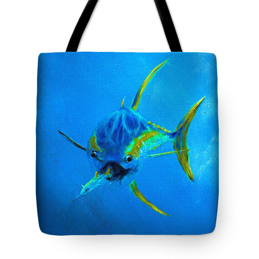 Dolphin Tote Bag featuring the painting Yellowfin Tuna Three by Ken Figurski