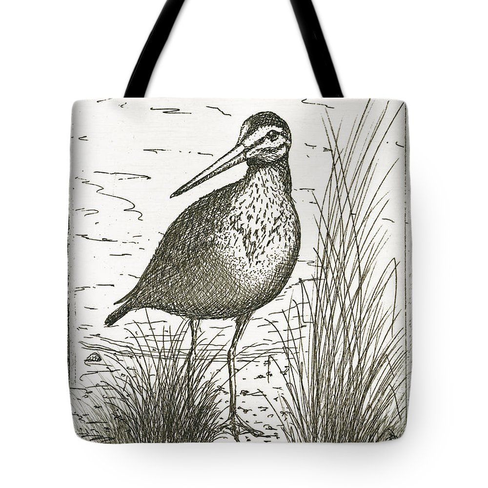 Charles Harden Tote Bag featuring the drawing Yellowlegs Shorebird by Charles Harden