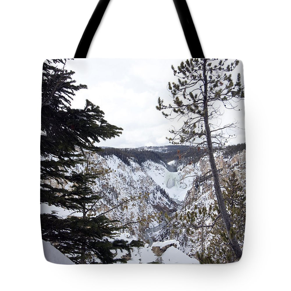 Landscape Tote Bag featuring the photograph Yellowstone Canyon by Mary Haber