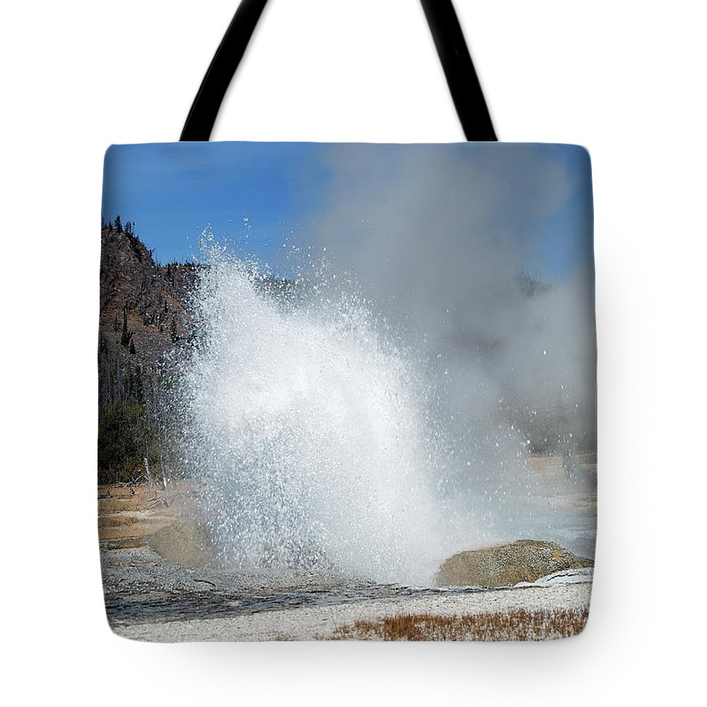 Geyser Tote Bag featuring the photograph Yellowstone Features by Michael Peychich