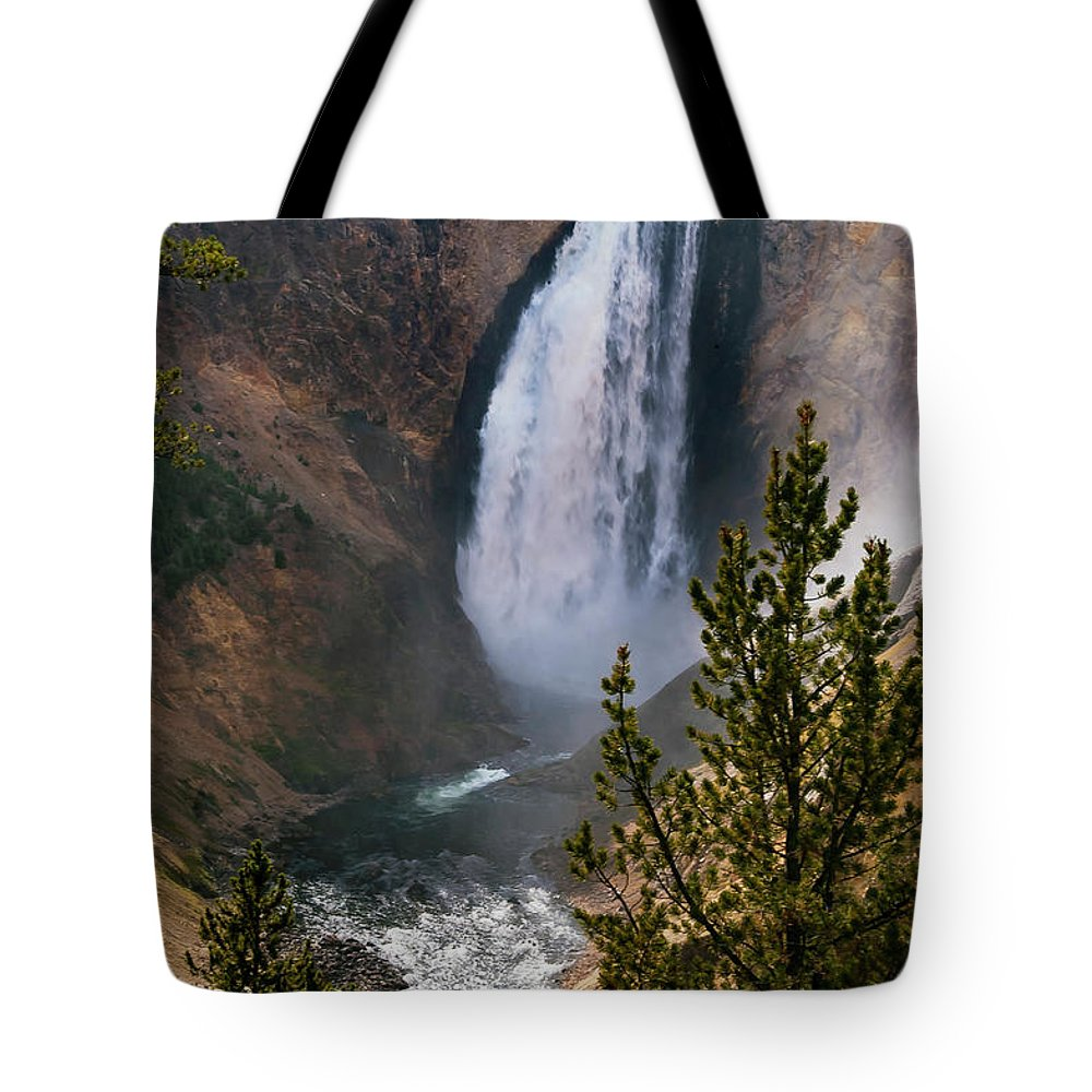 Lower Falls Tote Bag featuring the photograph Yellowstone Grand Canyon Falls by Bob Phillips