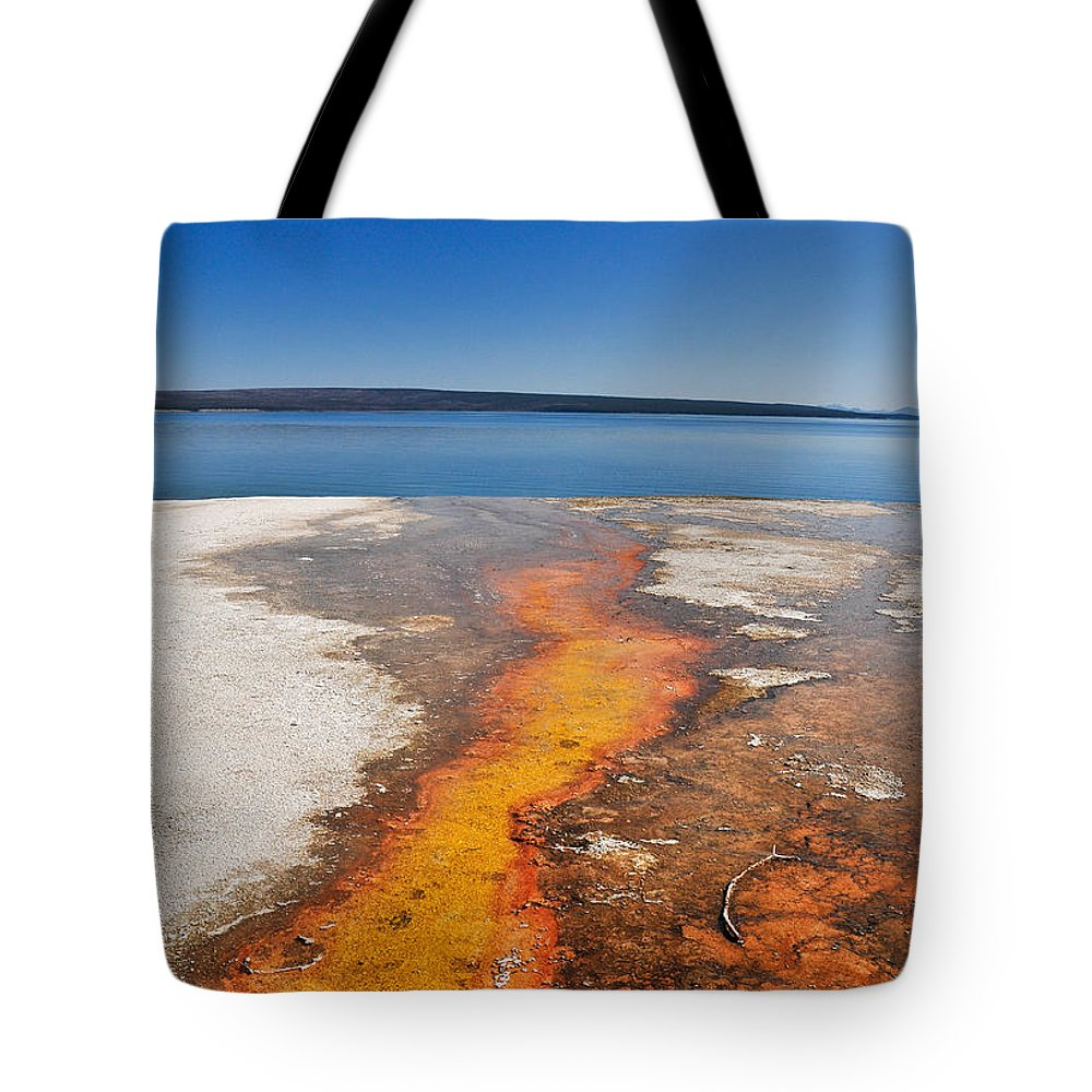 Yellowstone Lake Tote Bag featuring the photograph Yellowstone Lake And West Thumb Geyser Flow by Ginger Wakem