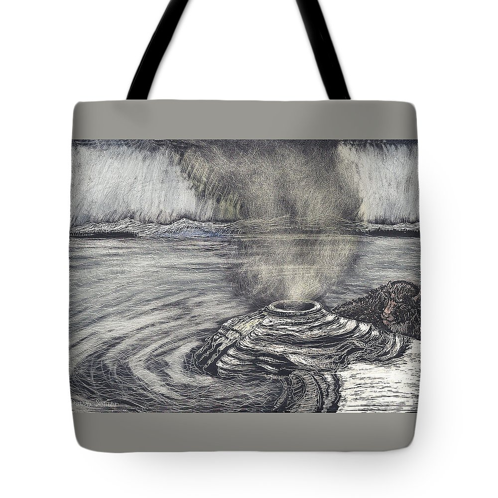 Yellowstone National Park Tote Bag featuring the drawing Yellowstone Lake by Dawn Senior-Trask