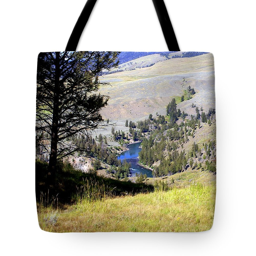 Yellowstone National Park Tote Bag featuring the photograph Yellowstone River Vista by Marty Koch