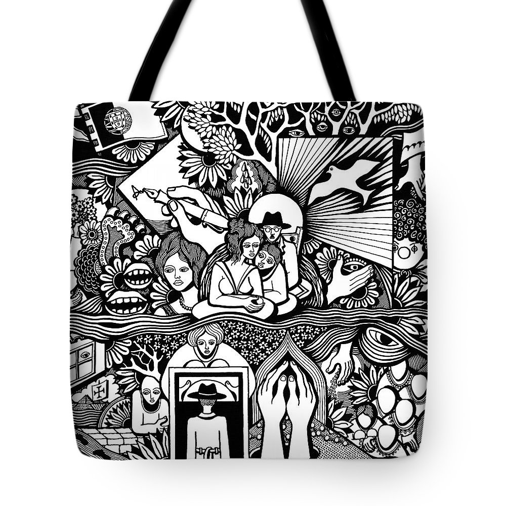 Drawing Tote Bag featuring the drawing Yes It's Me I Myself What Turned Out To Be by Jose Alberto Gomes Pereira