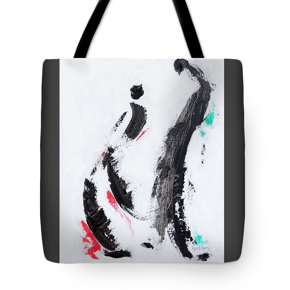 Figurative Abstract Tote Bag featuring the painting Yes Or No - Conversing Couple by Ben Gertsberg