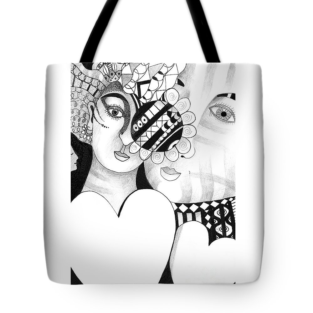 Woman Tote Bag featuring the drawing Yes We Do by Helena Tiainen