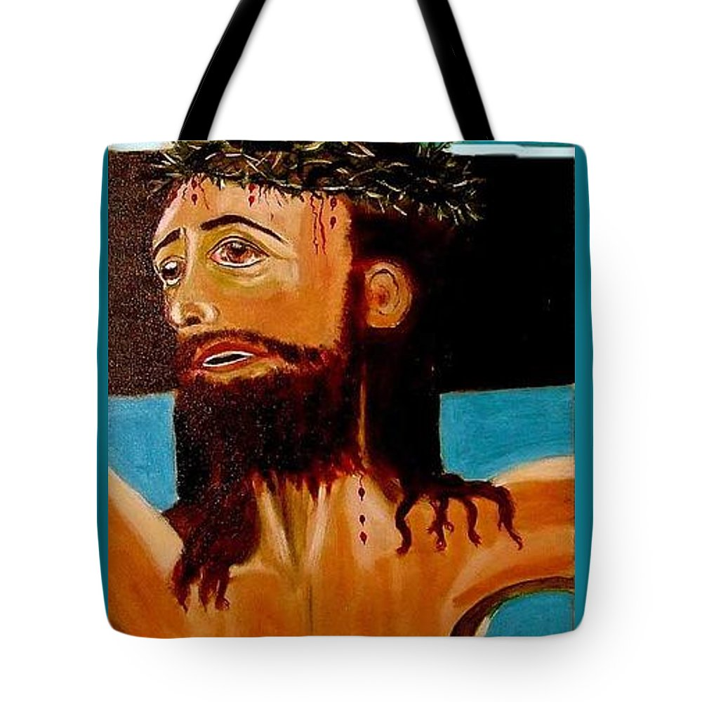 Jesus Tote Bag featuring the painting Yeshua by Rusty Gladdish