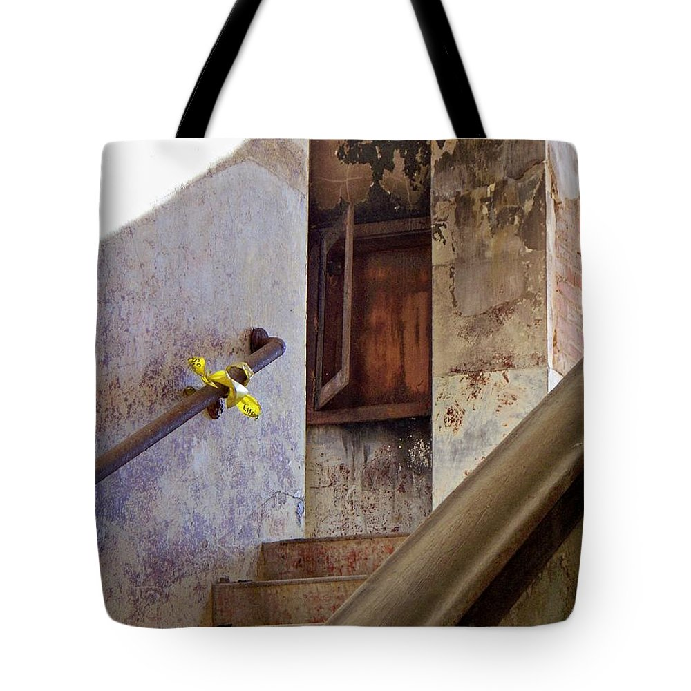 Stair Tote Bag featuring the photograph Yesterday's Bulletin by Betty Northcutt