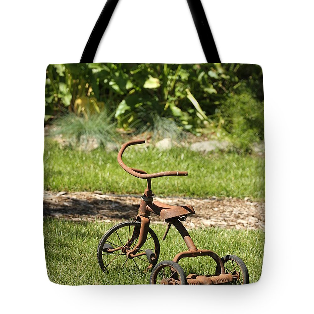Tricycle Tote Bag featuring the photograph Yesterdays Memories by Mary Ourada