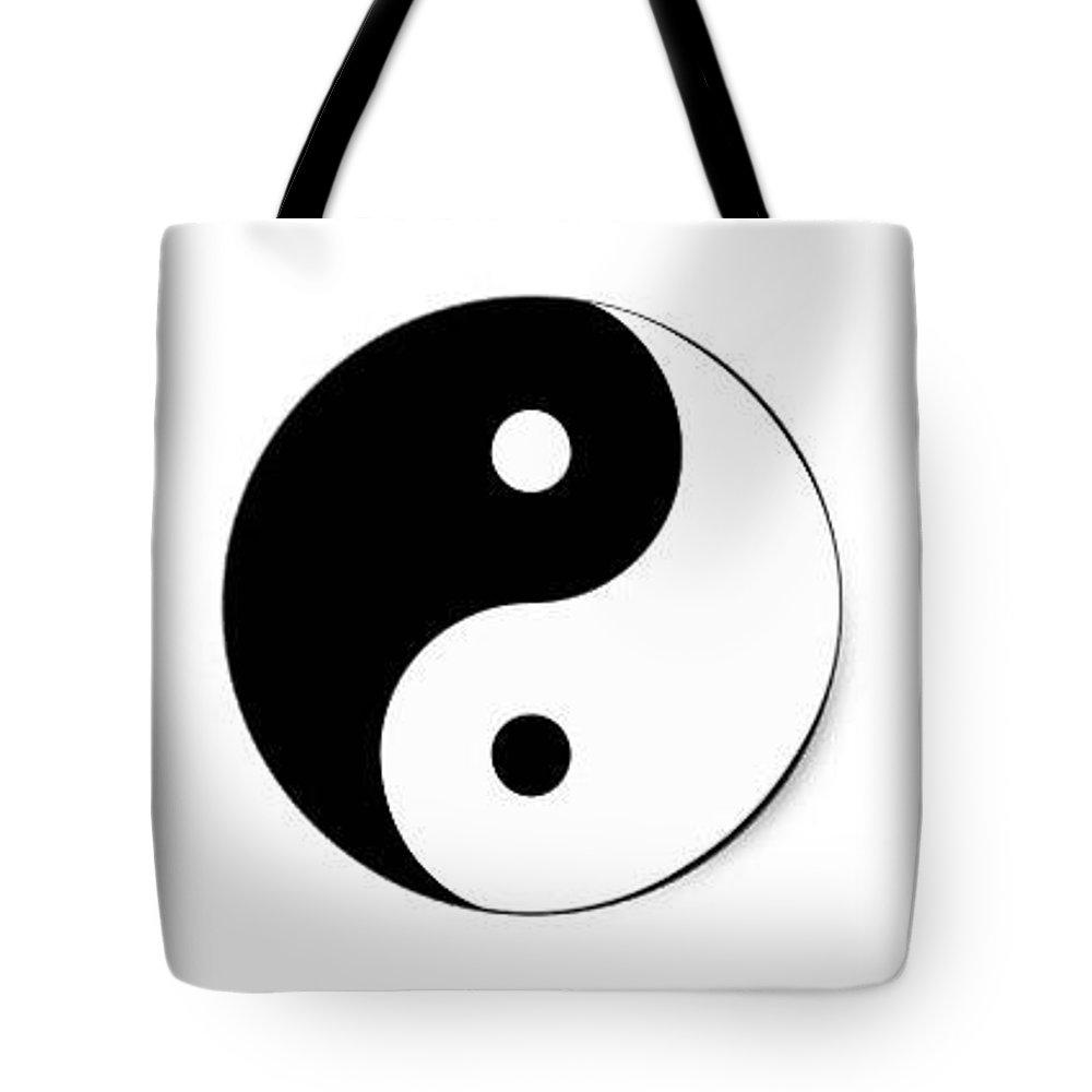 Yin Yang Tote Bag featuring the digital art Yin Yang by Judith Cahill