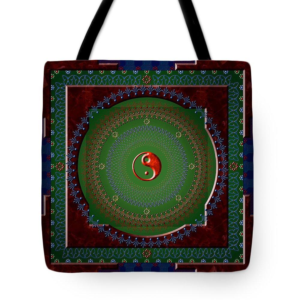 Mandala Tote Bag featuring the digital art Yin Yang by Stephen Lucas
