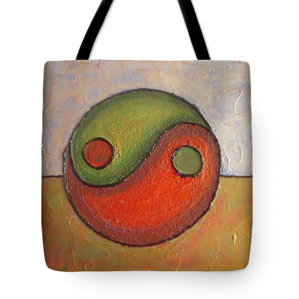 Yin-yang Tote Bag featuring the painting Yin - Yang by Vesna Antic