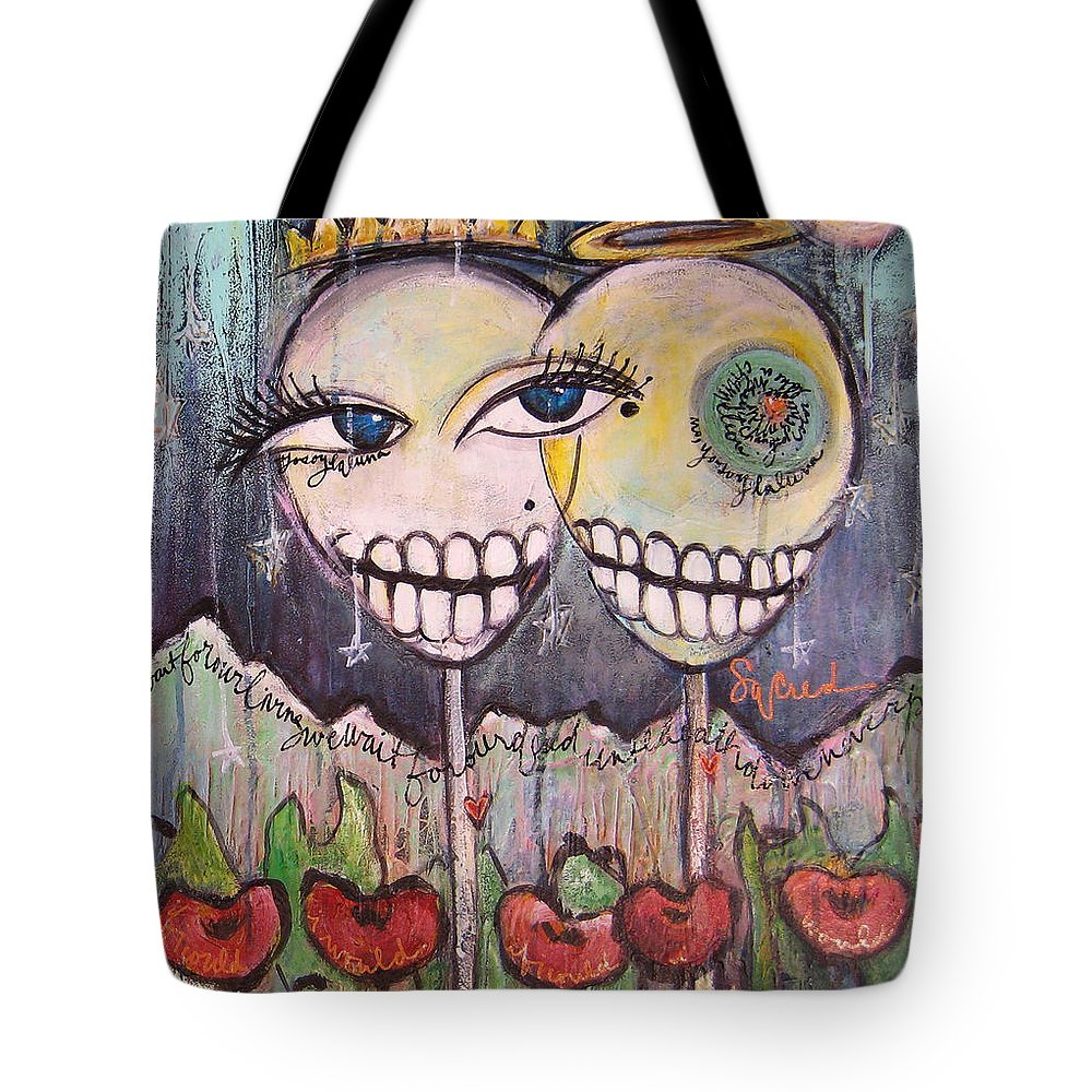 Skull Heads Tote Bag featuring the painting Yo Soy La Luna by Laurie Maves ART
