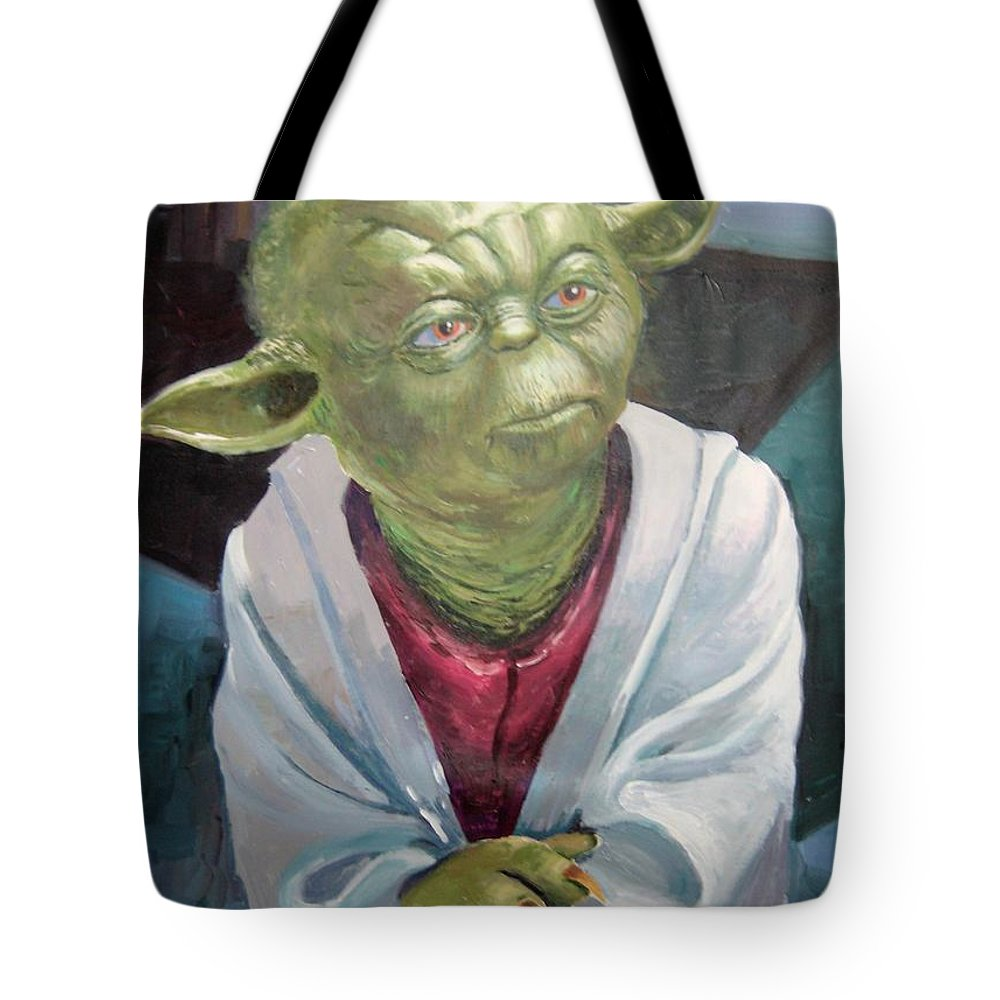 Tote Bag featuring the painting Yoda. Original Acrylic by Jose Camero Hernandez