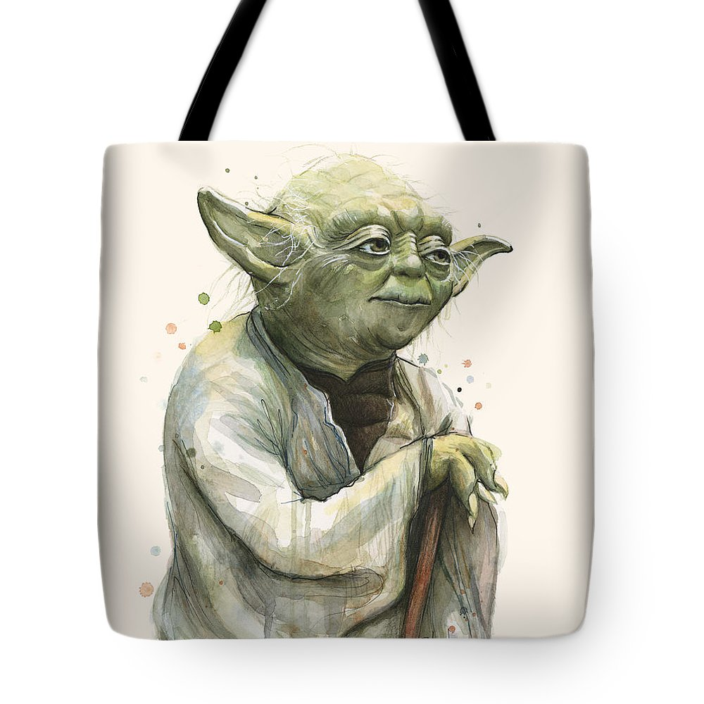 Yoda Tote Bag featuring the painting Yoda Portrait by Olga Shvartsur