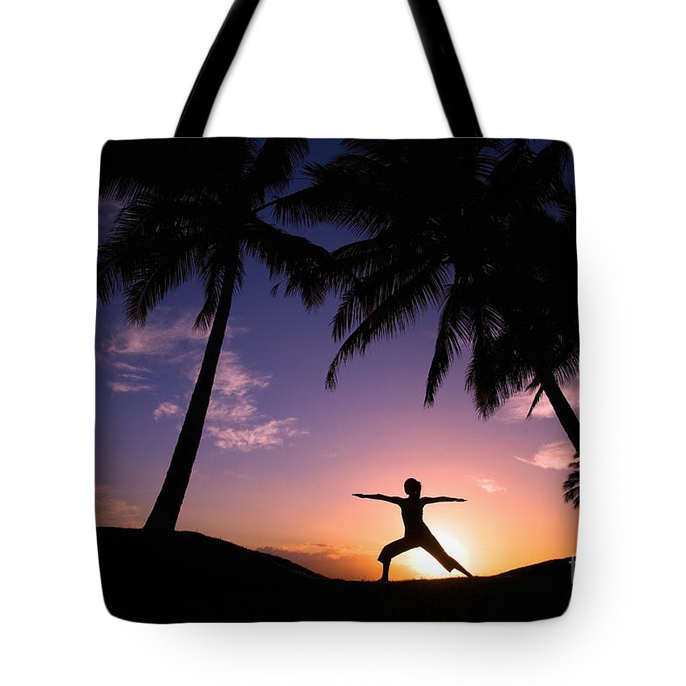 Air Tote Bag featuring the photograph Yoga At Sunset by Ron Dahlquist - Printscapes