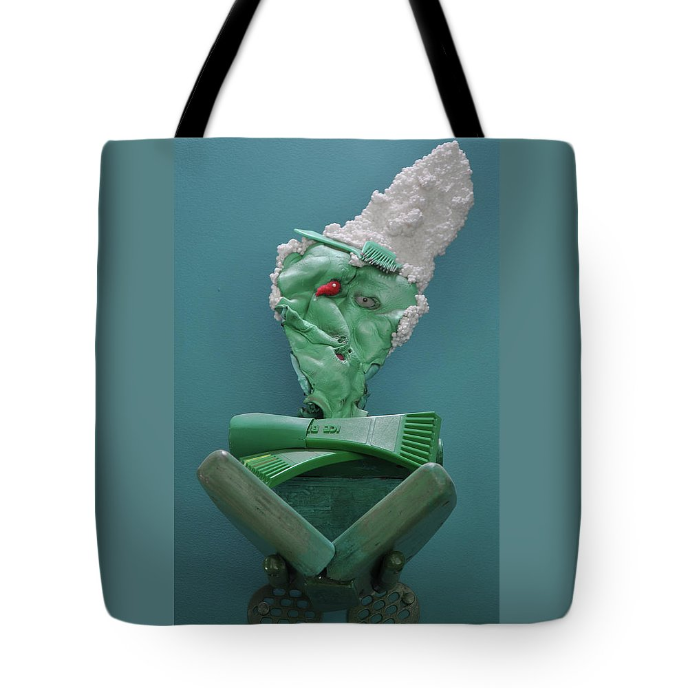 Green Tote Bag featuring the sculpture Yogi Levitation by Michael Jude Russo