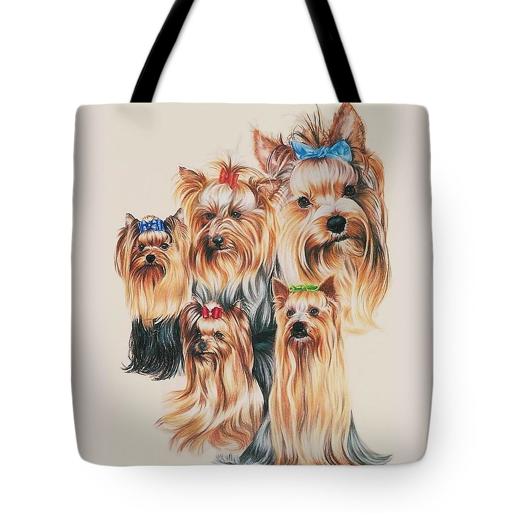 Purebred Tote Bag featuring the drawing Yorkshire Terrier by Barbara Keith