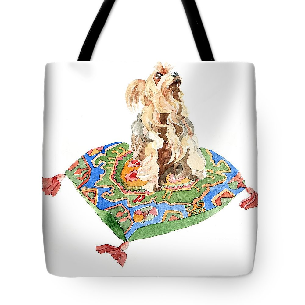 Yorkshire Terrier Tote Bag featuring the painting Yorkshire Terrier by Jennifer Abbot