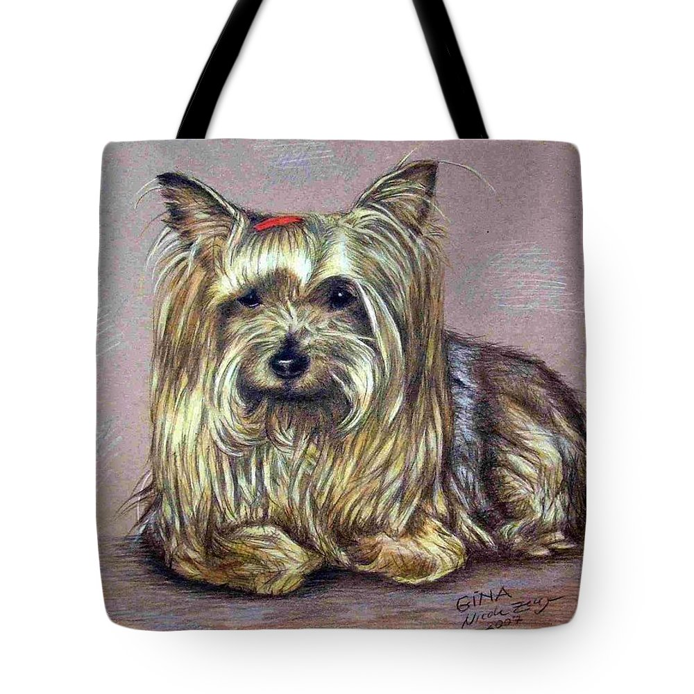 Dog Tote Bag featuring the drawing Yorkshire Terrier by Nicole Zeug