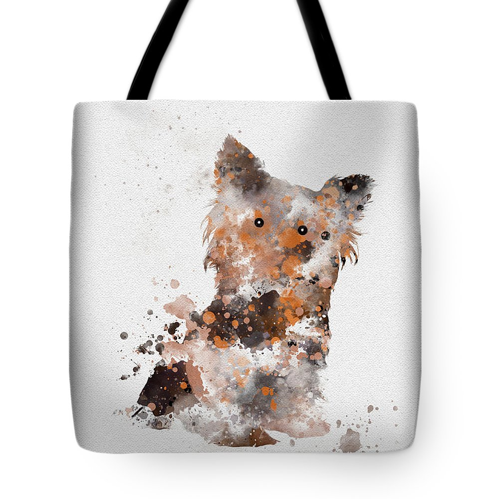Dog Tote Bag featuring the mixed media Yorkshire Terrier by My Inspiration