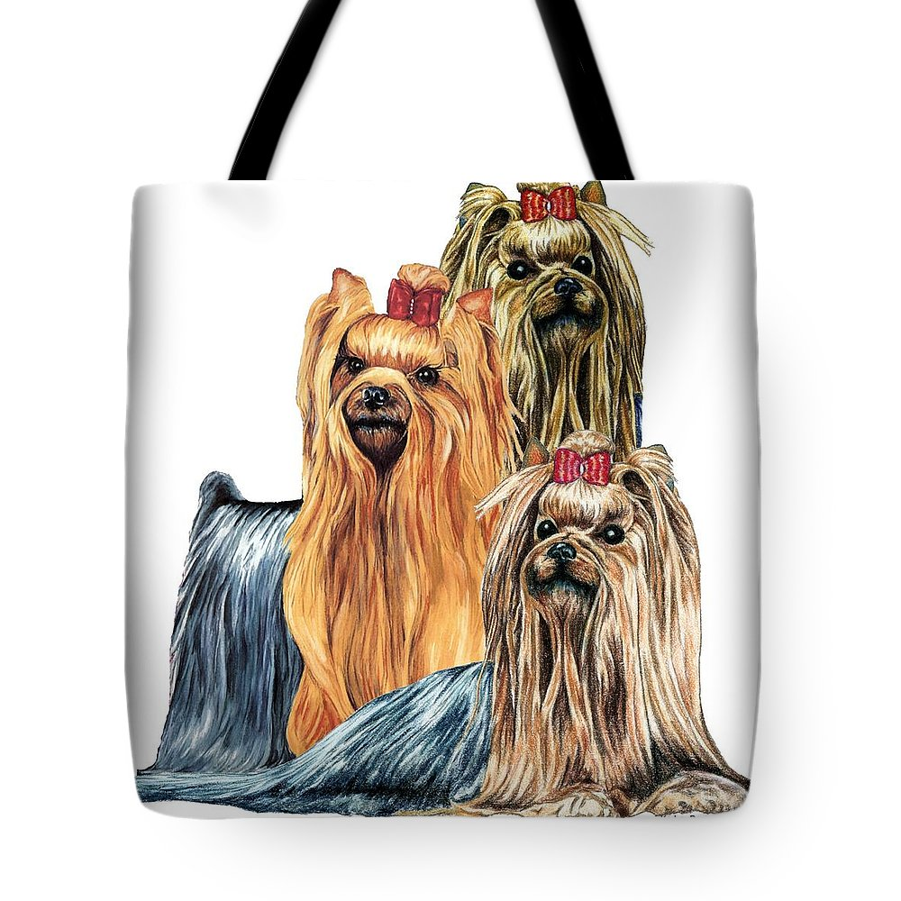 Yorkshire Terrier Tote Bag featuring the drawing Yorkshire Terriers by Kathleen Sepulveda