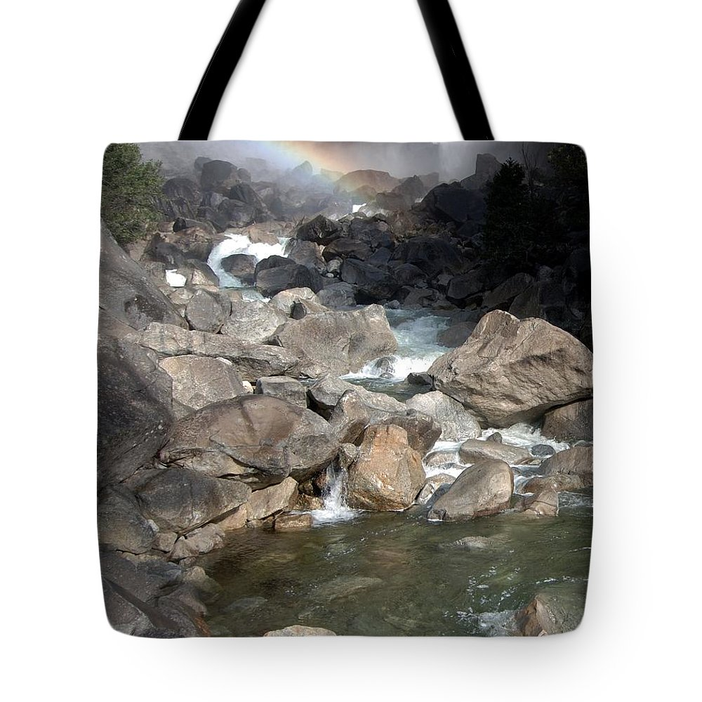 California Parks Tote Bag featuring the photograph Yosemite Falls Rainbow by Norman Andrus