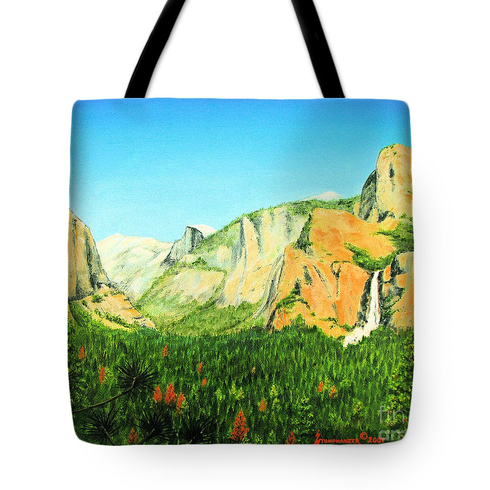 Yosemite National Park Tote Bag featuring the painting Yosemite National Park by Jerome Stumphauzer