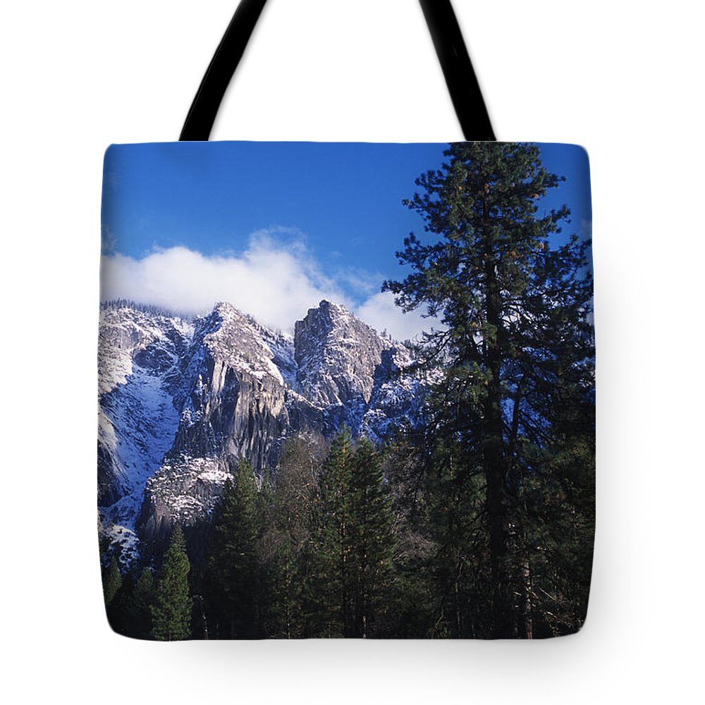 Yosemite Tote Bag featuring the photograph Yosemite Three Brothers In Winter by Jim And Emily Bush