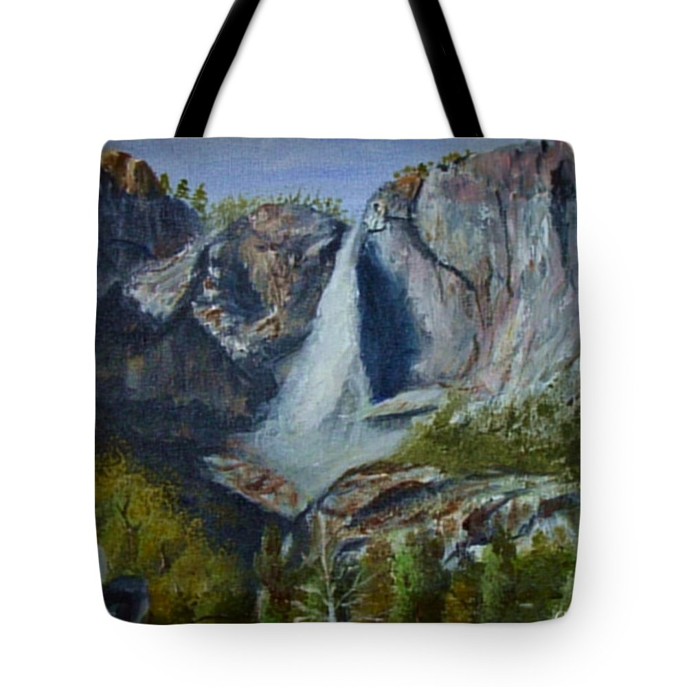 Waterfall Tote Bag featuring the painting Yosemite Waterfall by Quwatha Valentine