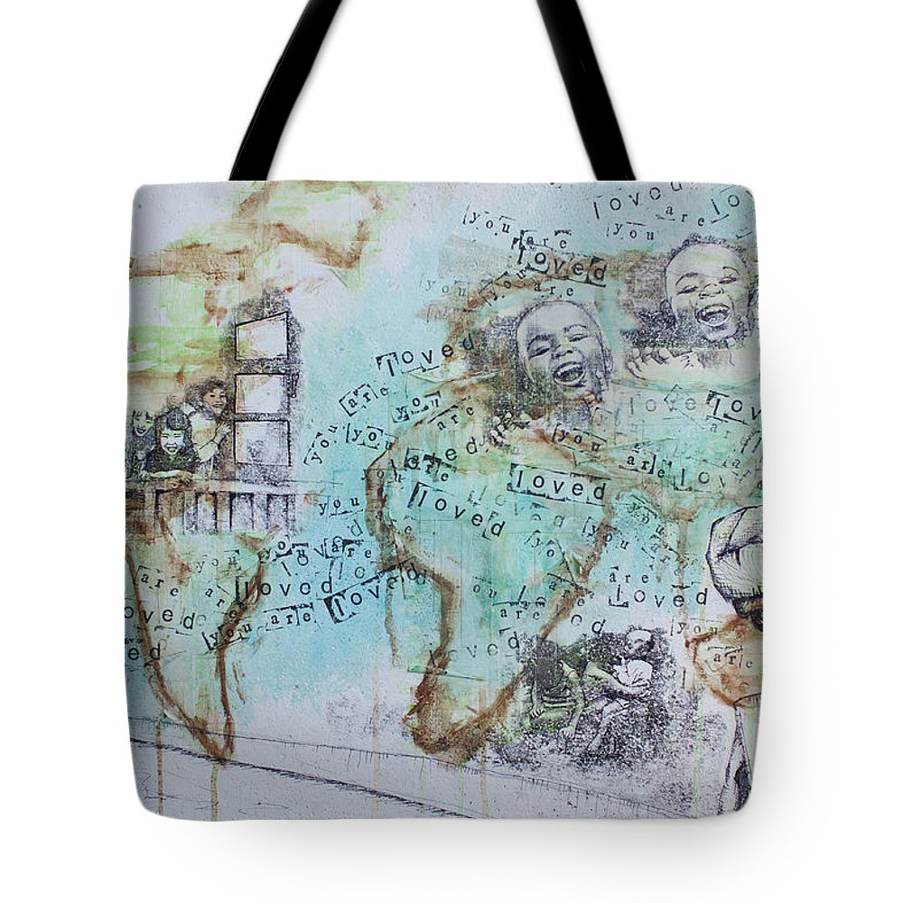 Orphans Tote Bag featuring the painting You Are Loved by Amber Ellison