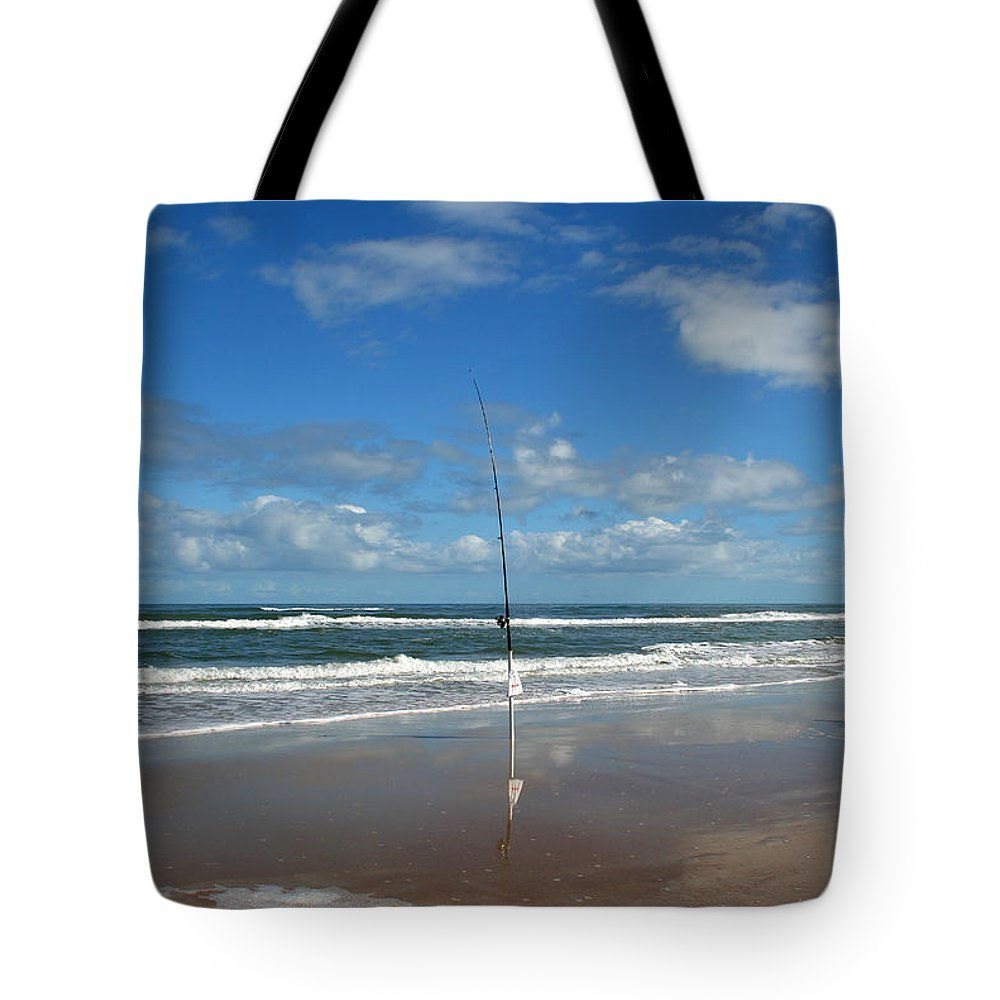 Fish Fishing Vacation Beach Surf Shore Rod Pole Chair Blue Sky Ocean Waves Wave Sun Sunny Bright Tote Bag featuring the photograph You Could Have Been There by Andrei Shliakhau