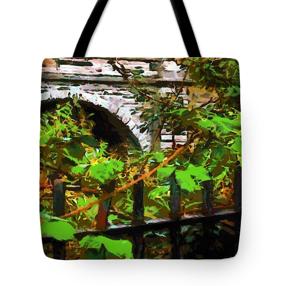 Fence Tote Bag featuring the painting You Go First by RC DeWinter