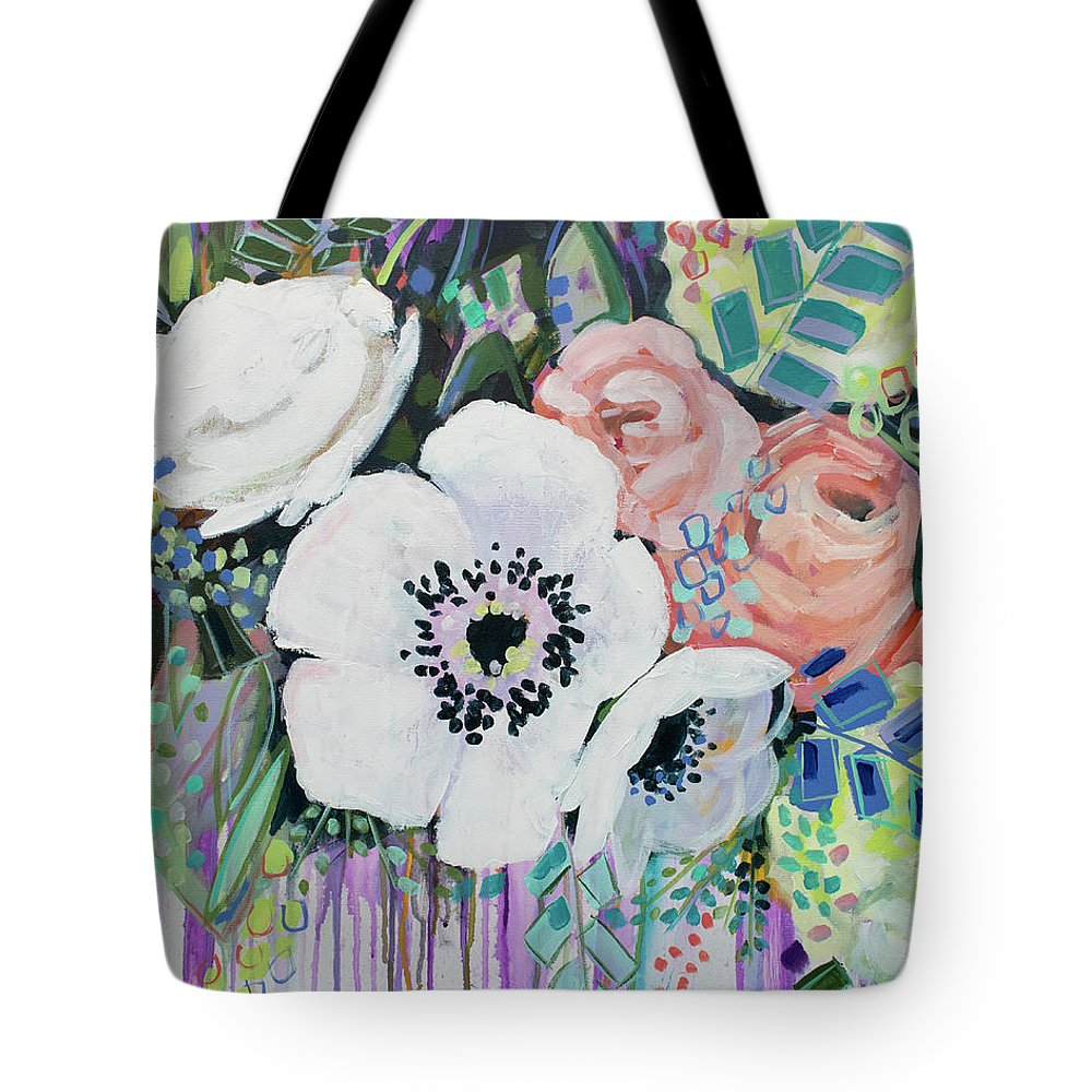 Flower Tote Bag featuring the painting You Had Me At Hello by Kristin Whitney