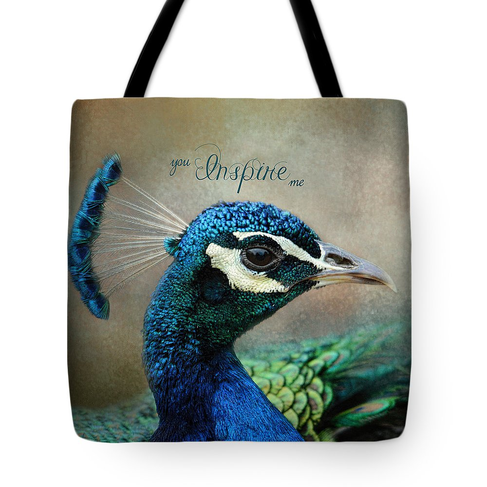 Jai Johnson Tote Bag featuring the photograph You Inspire Me - Peacock Art by Jai Johnson