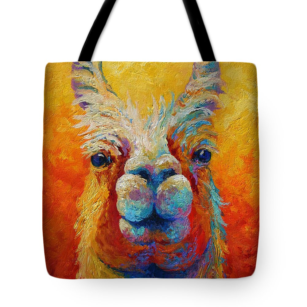 Llama Tote Bag featuring the painting You Lookin At Me by Marion Rose