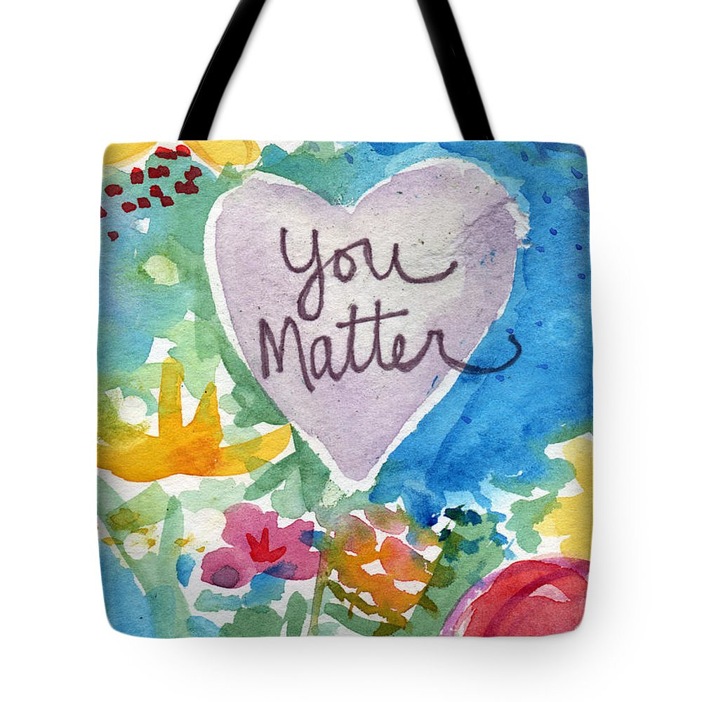 Heart Tote Bag featuring the mixed media You Matter Heart and Flowers- Art by Linda Woods by Linda Woods