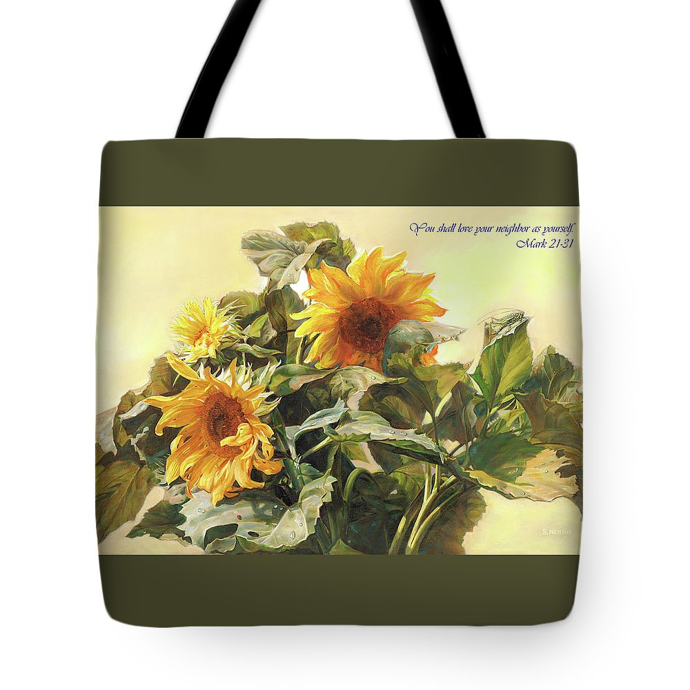 New Testament Tote Bag featuring the painting You Shall Love Your Neighbor As Yourself by Svitozar Nenyuk