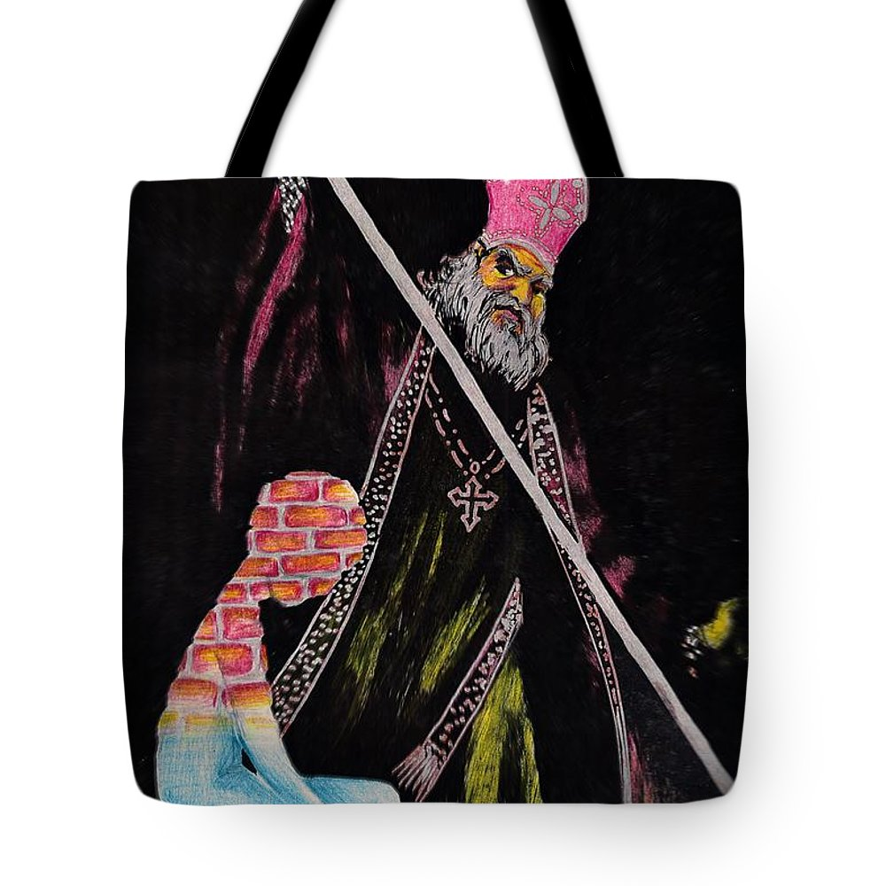 Religion God Salvation Darkness Control Lies Tote Bag featuring the mixed media You Will Be Saved by Veronica Jackson