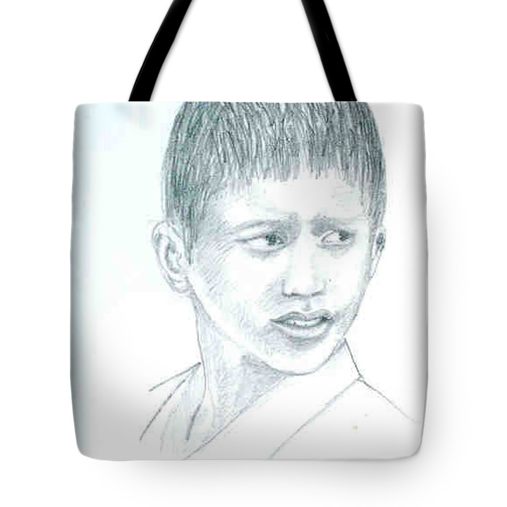 Tote Bag featuring the drawing Young Boy by Asha Sudhaker Shenoy
