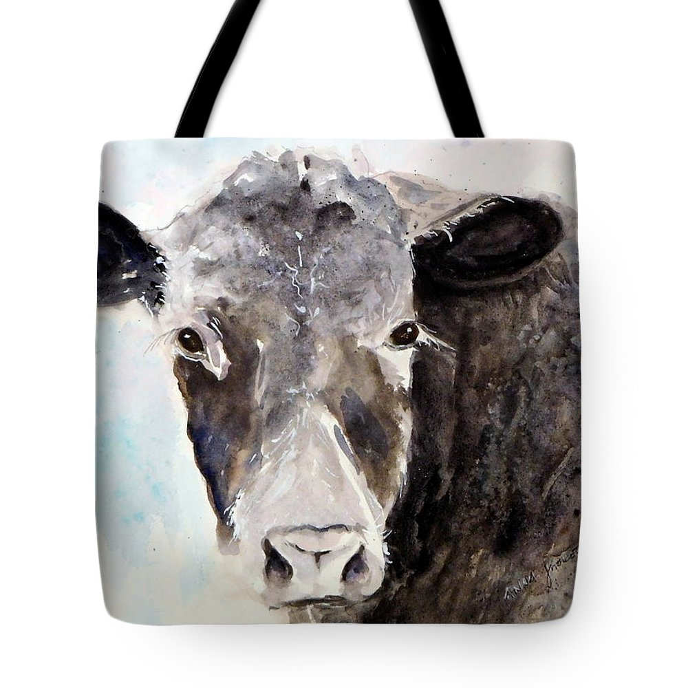 Young Angus Cattle Tote Bag featuring the painting Young Bruno - Mud Face by Anna Jacke