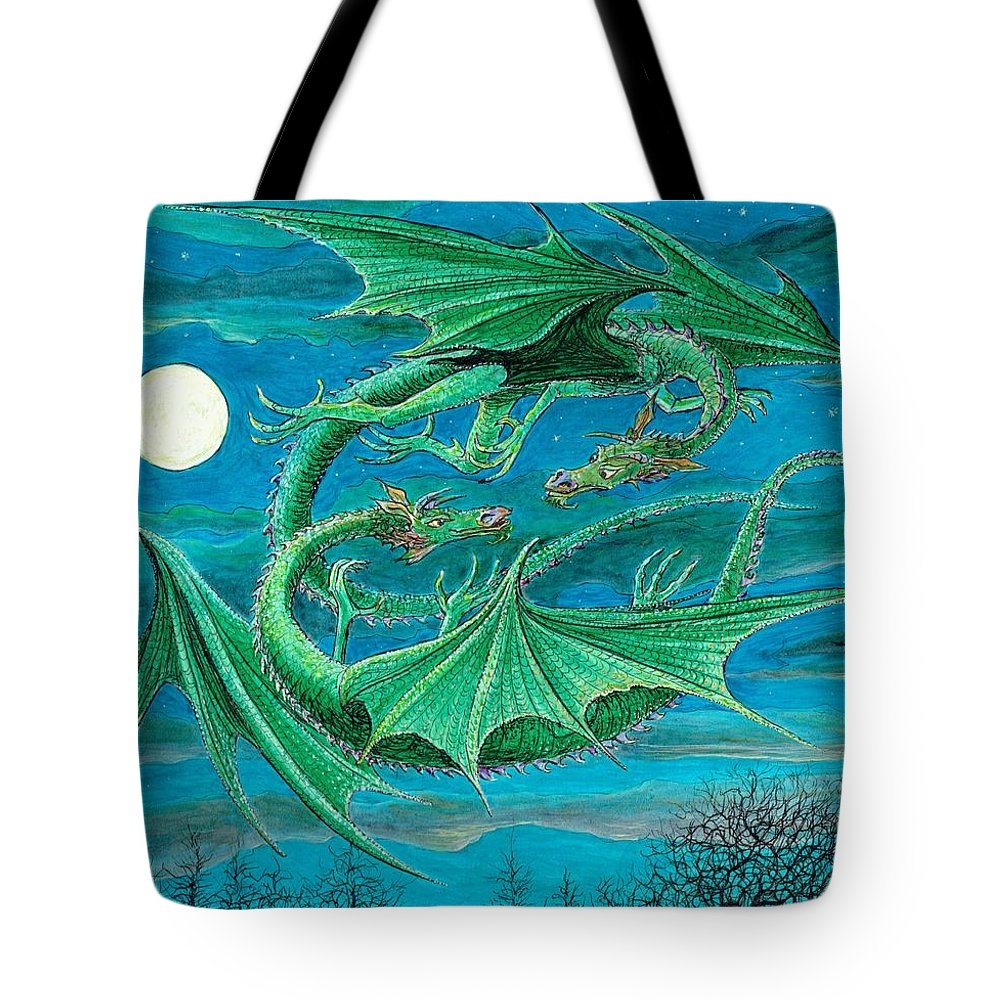 Dragon Imagination Blue Green Sky Night Child Children Fantasy Moon Moonlight Moonlit Tote Bag featuring the painting Young Dragons Frisk by Charles Cater
