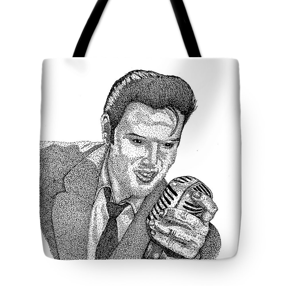 Iink Tote Bag featuring the drawing Young Elvis by Jennifer Campbell Brewer
