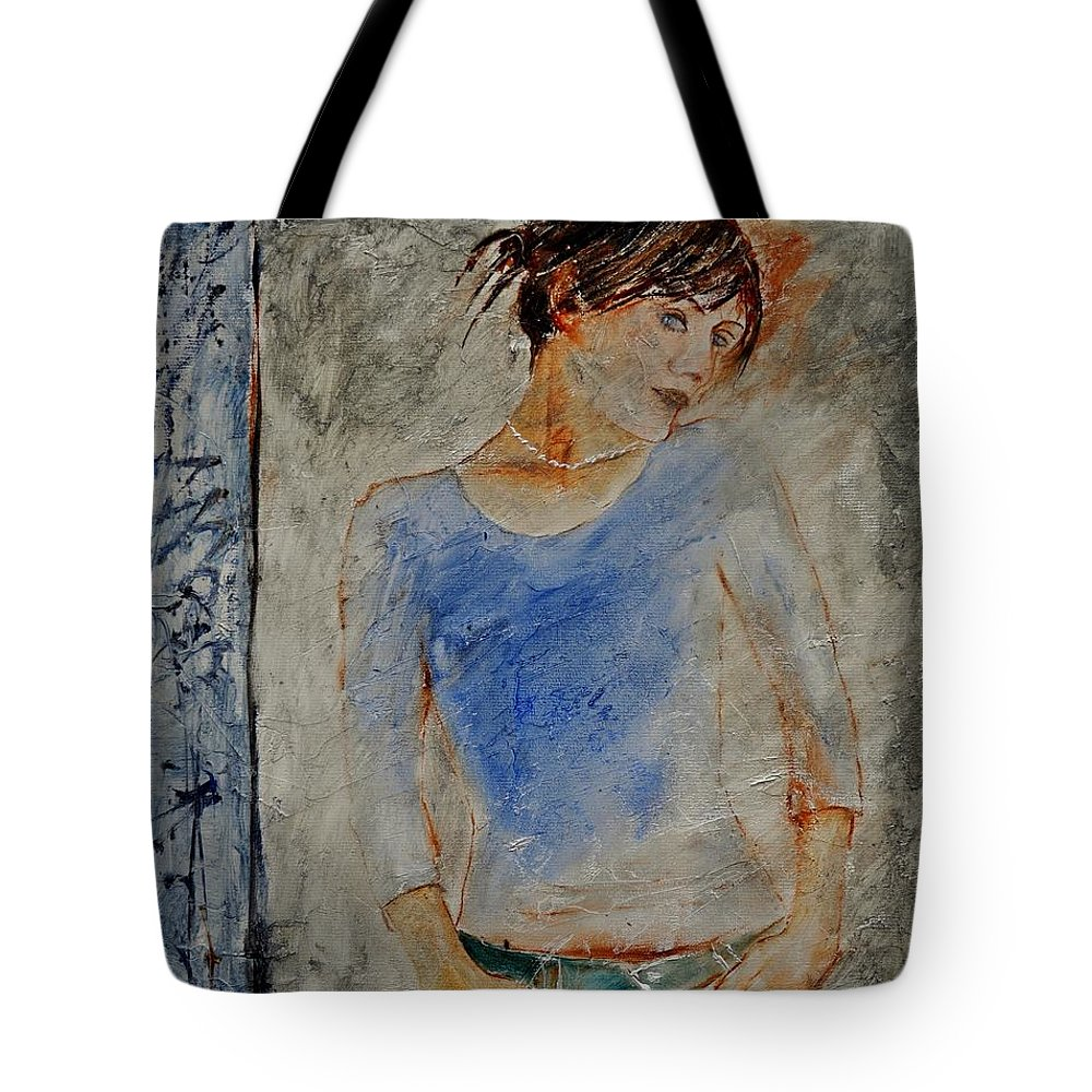 Girl Tote Bag featuring the painting Young Girl 451120 by Pol Ledent
