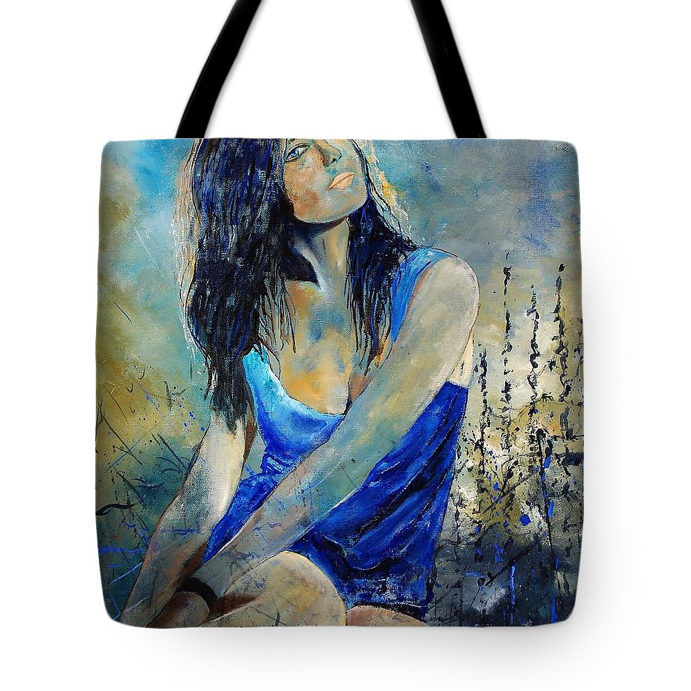Girl Tote Bag featuring the painting Young Girl In Blue by Pol Ledent