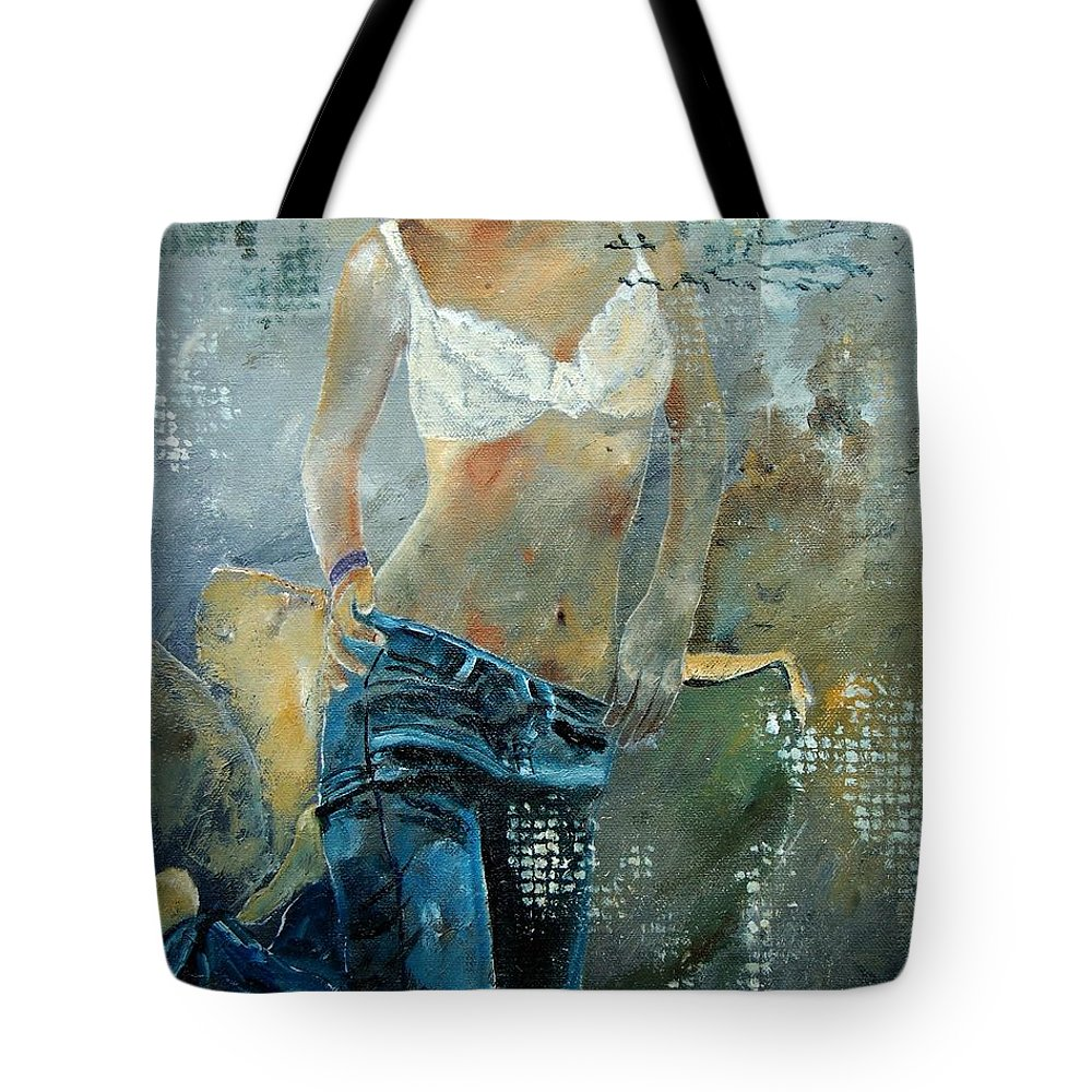 Girl Tote Bag featuring the painting Young Girl In Jeans by Pol Ledent