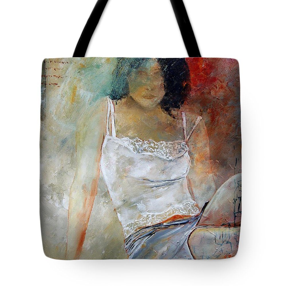 Nude Tote Bag featuring the painting Young Girl Sitting by Pol Ledent